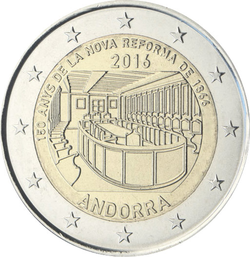 Image of 2 euro coin - 150 years of the New Reform 1866  | Andorra 2016