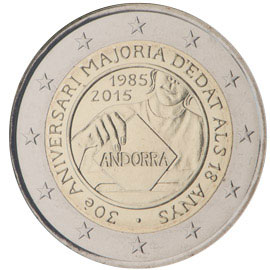2 euro coin 30th anniversary of the Coming of Age and Political Rights to the Men and Women turning 18 years old  | Andorra 2015