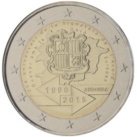 2 euro coin 25th anniversary of the Signature of the Customs Agreement with the European Union  | Andorra 2015