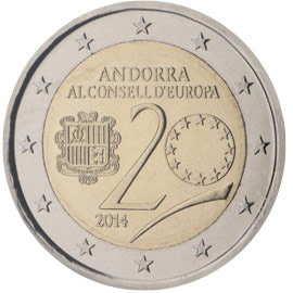 Image of 2 euro coin - 20 years in the Council of Europe | Andorra 2014