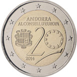 2 euro coin 20 years in the Council of Europe | Andorra 2014