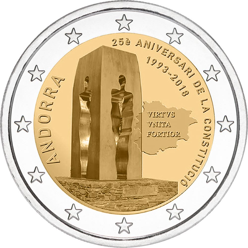 Image of 2 euro coin – 25th anniversary of the Constitution of Andorra | Andorra 2018