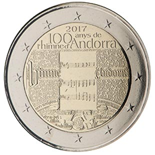 Image of 2 euro coin – 100 years of the Andorra Anthem | Andorra 2017