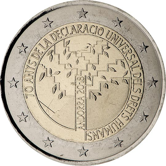 Image of 2 euro coin - 70 years of the Universal Declaration of Human Rights | Andorra 2018
