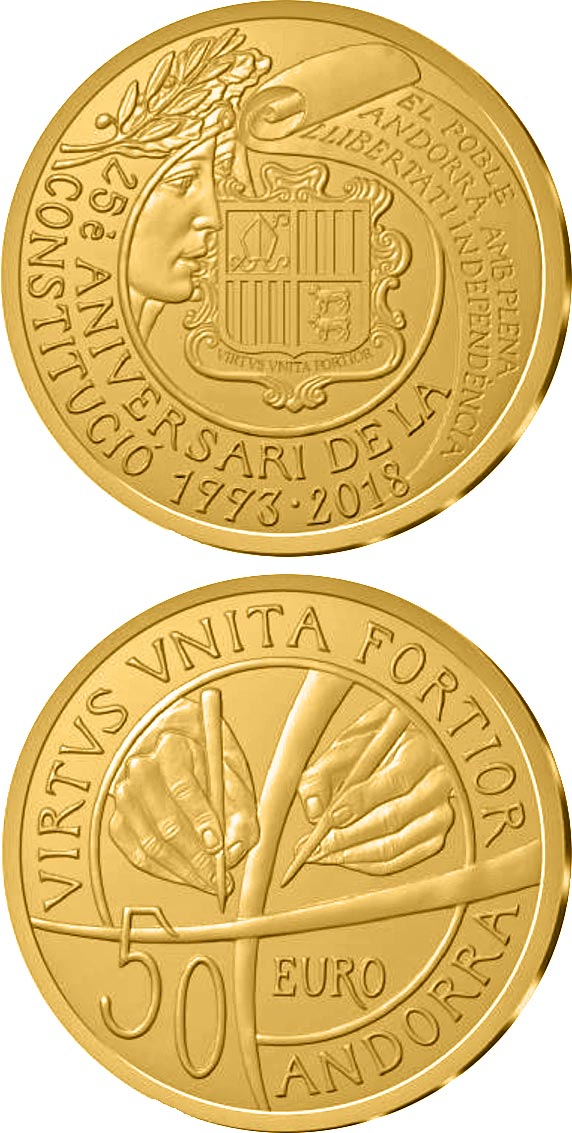 Image of 25th anniversary of the Constitution of Andorra – 50 euro coin Andorra 2018.  The Gold coin is of Proof quality.
