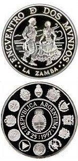 Image of 25 pesos coin – Typical Ibero-American dances and costumes – Zamba  | Argentina 1997.  The Silver coin is of Proof quality.