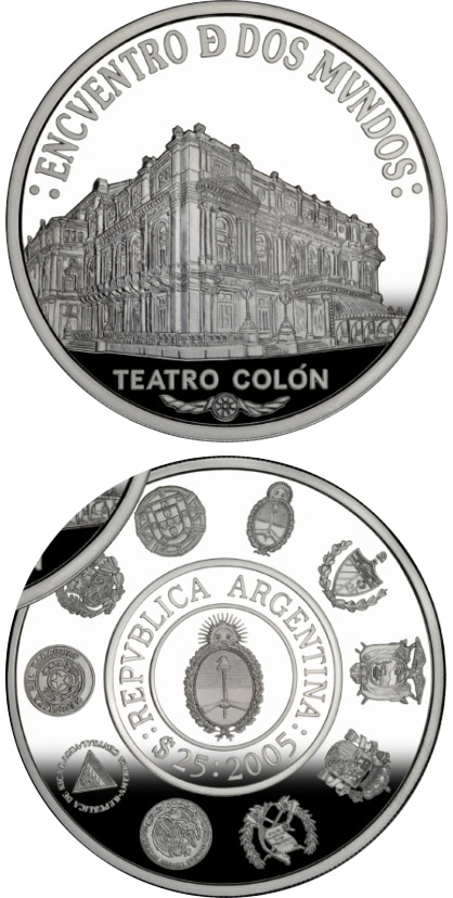 25 pesos Architecture and monuments - The Colón Theater Building - 2005 - Series: Ibero-American Series - Argentina