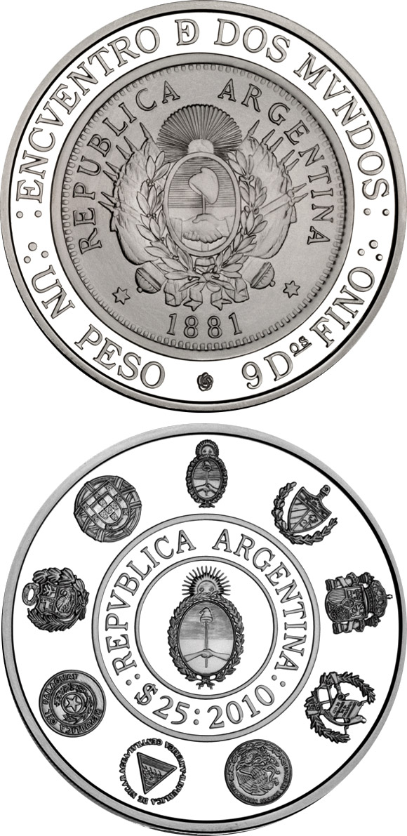 Image of Historic Ibero-American Coins – Patacón – 25 peso coin Argentina 2010.  The Silver coin is of Proof quality.