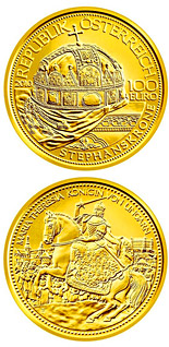 100 euro coin The Hungarian Crown of St. Stephen  | Austria 2010