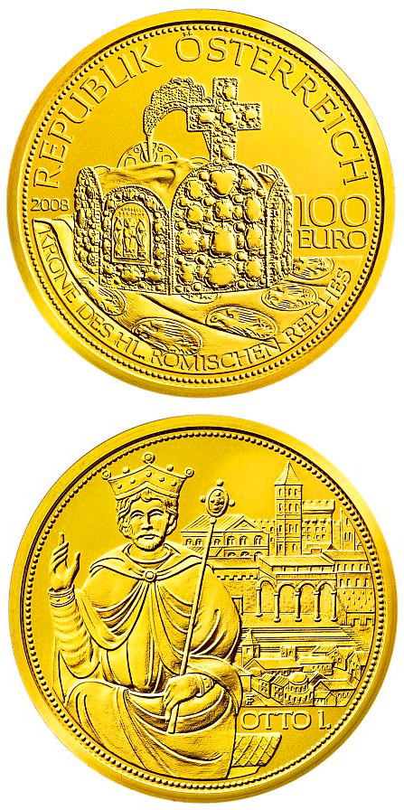 Image of 100 euro coin – The Crown of the Holy Roman Empire  | Austria 2008.  The Gold coin is of Proof quality.