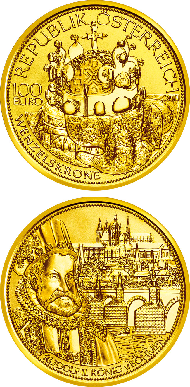 Image of The crown of Bohemia  – 100 euro coin Austria 2011.  The Gold coin is of Proof quality.