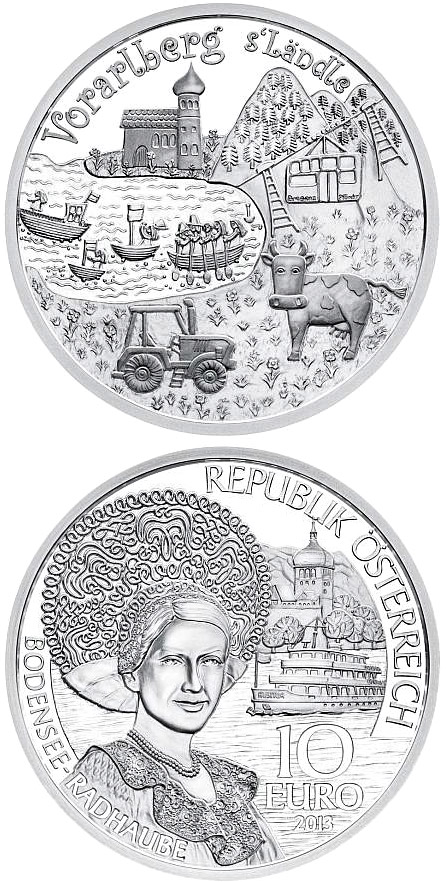 Image of 10 euro coin – Vorarlberg | Austria 2013.  The Silver coin is of Proof quality.