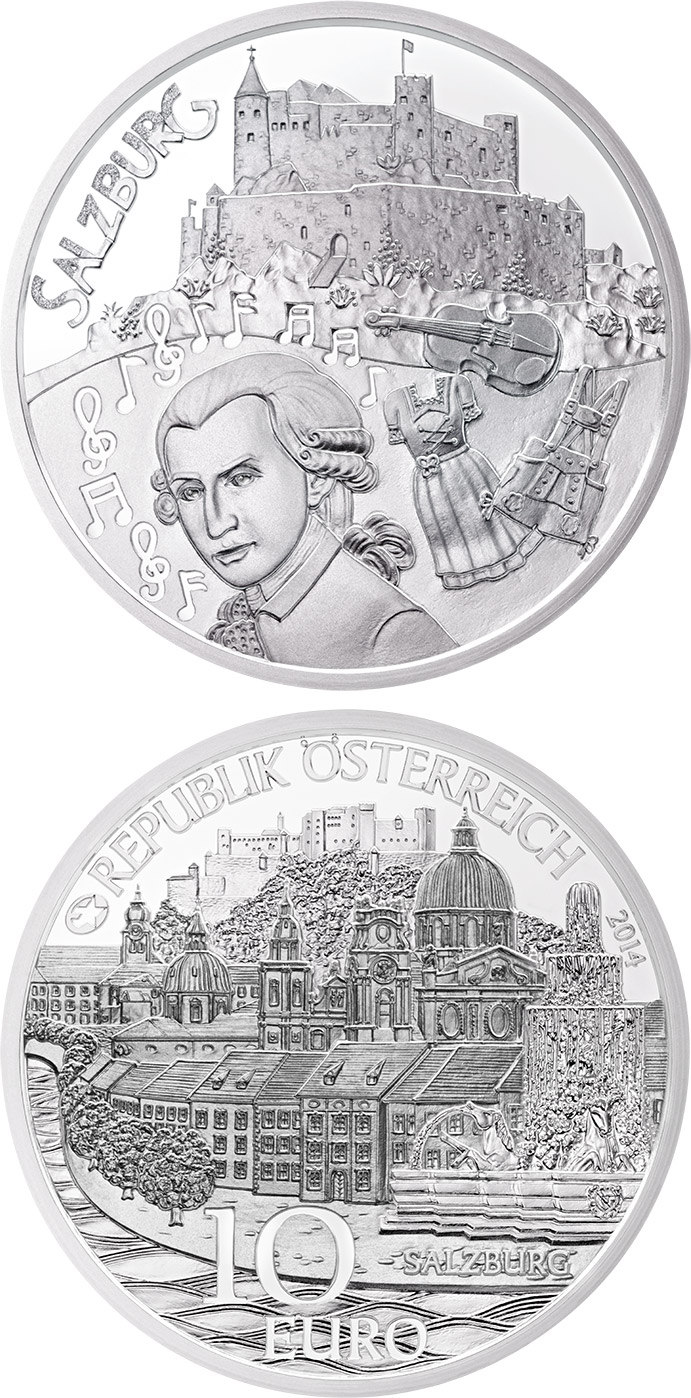 Image of 10 euro coin Salzburg | Austria 2014.  The Silver coin is of Proof quality.