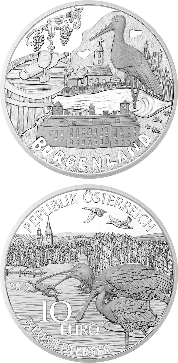 Image of 10 euro coin - Burgenland | Austria 2015.  The Silver coin is of Proof quality.