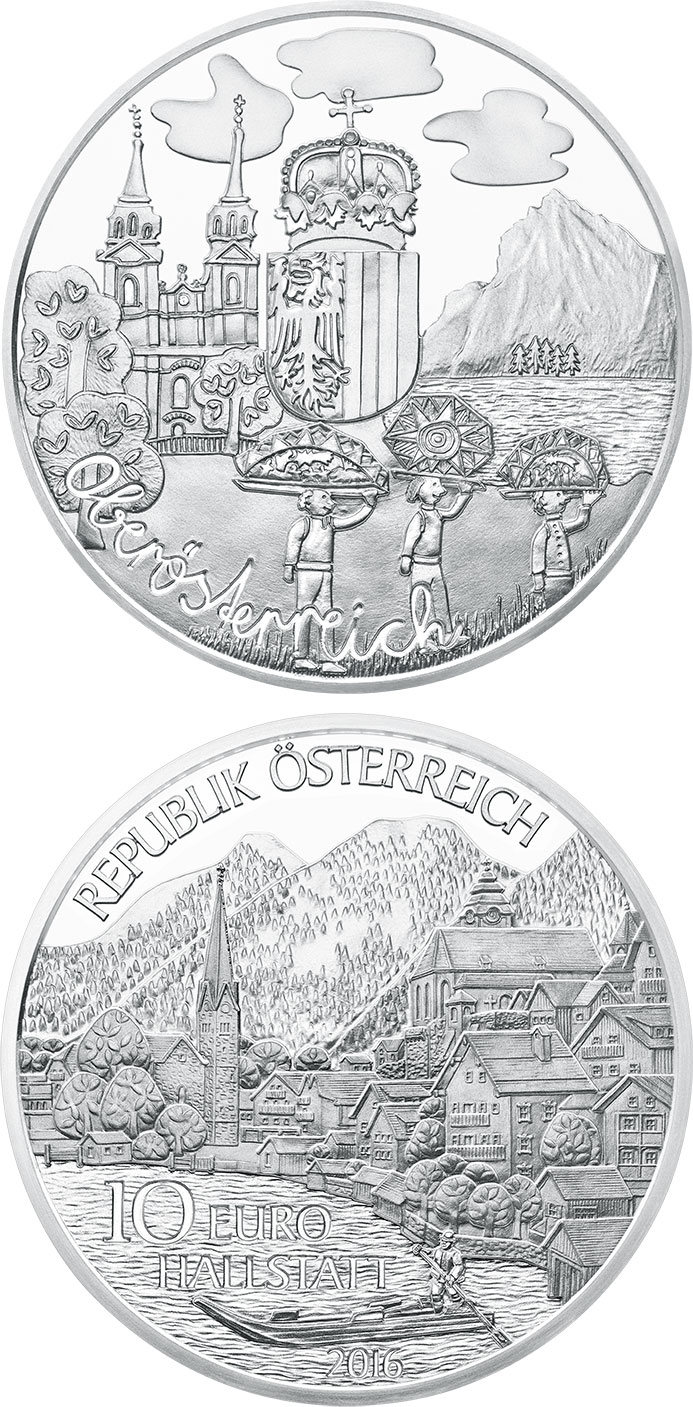 Image of 10 euro coin – Oberösterreich | Austria 2016.  The Silver coin is of Proof quality.