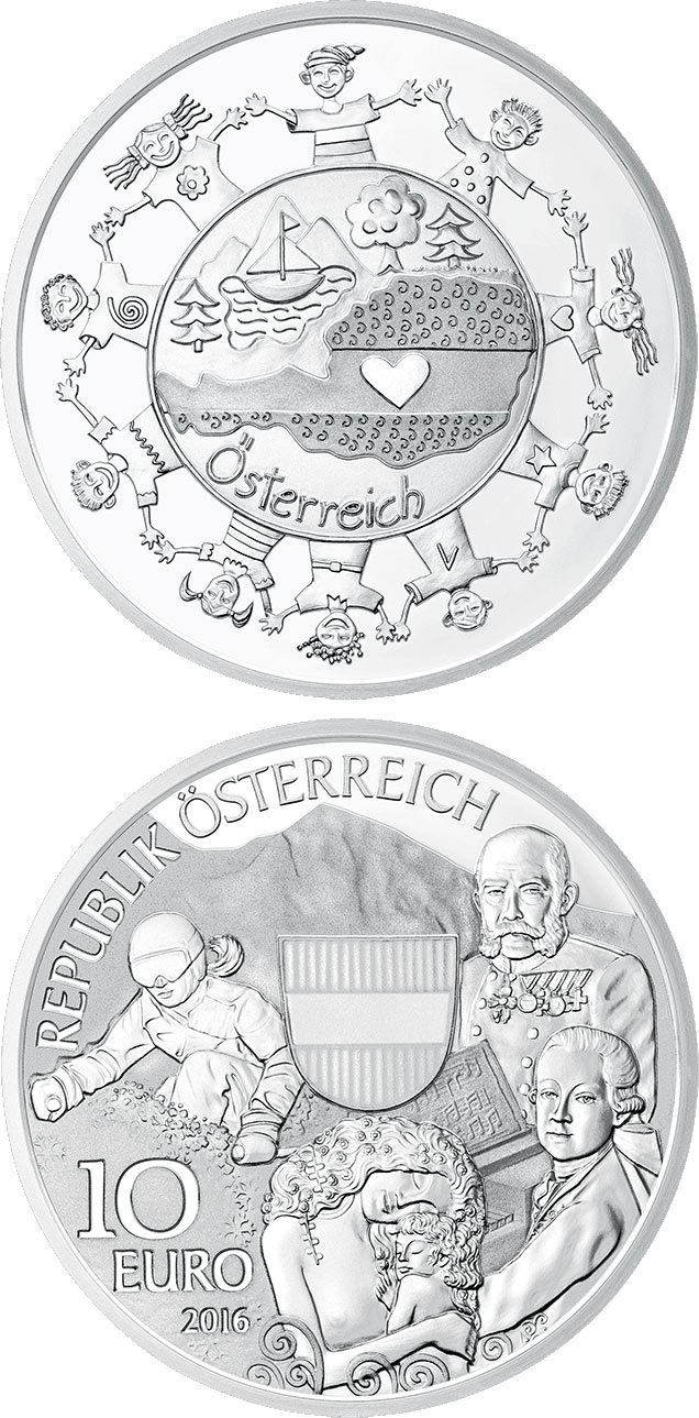 Image of 10 euro coin – Österreich | Austria 2016.  The Silver coin is of Proof quality.