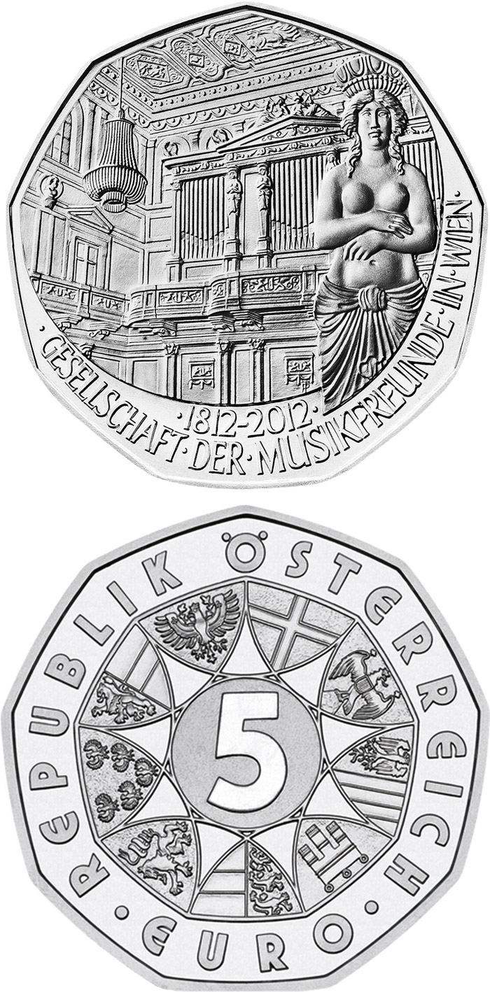 Image of a coin 5 euro | Austria | 200 Years Society of Music Lovers in Vienna | 2012