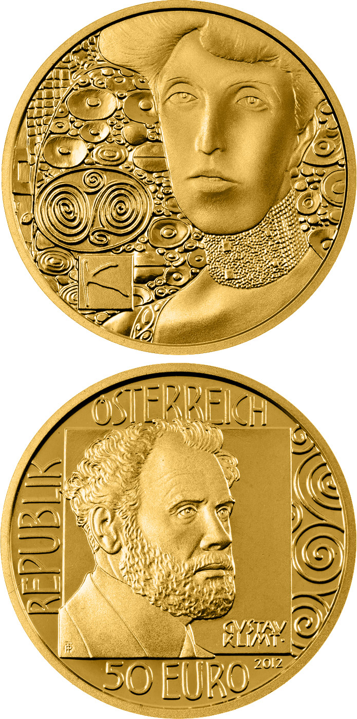 Image of 50 euro coin - Adele Bloch-Bauer I | Austria 2012.  The Gold coin is of Proof quality.