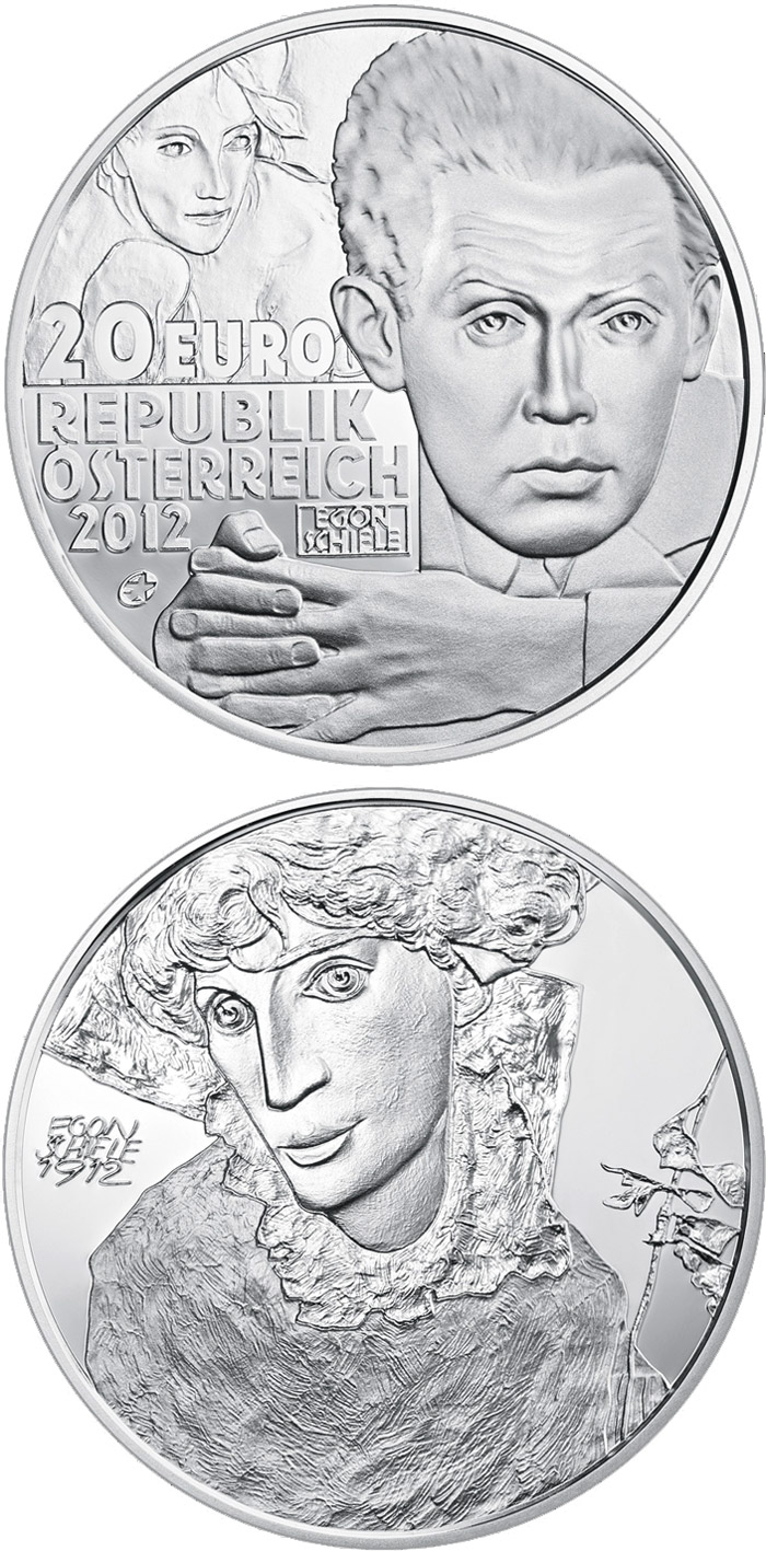 Image of 20 euro coin - Egon Schiele | Austria 2012.  The Silver coin is of Proof quality.