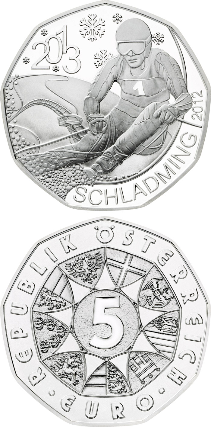 Image of 5 euro coin – Schladming 2013 | Austria 2012.  The Silver coin is of BU, UNC quality.