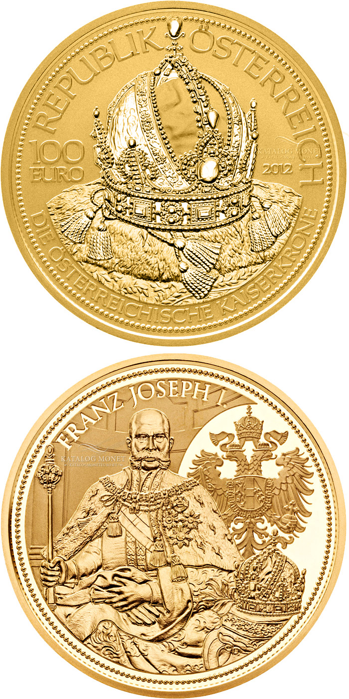 Image of 100 euro coin The Crown of the Austrian Empire  | Austria 2012.  The Gold coin is of Proof quality.