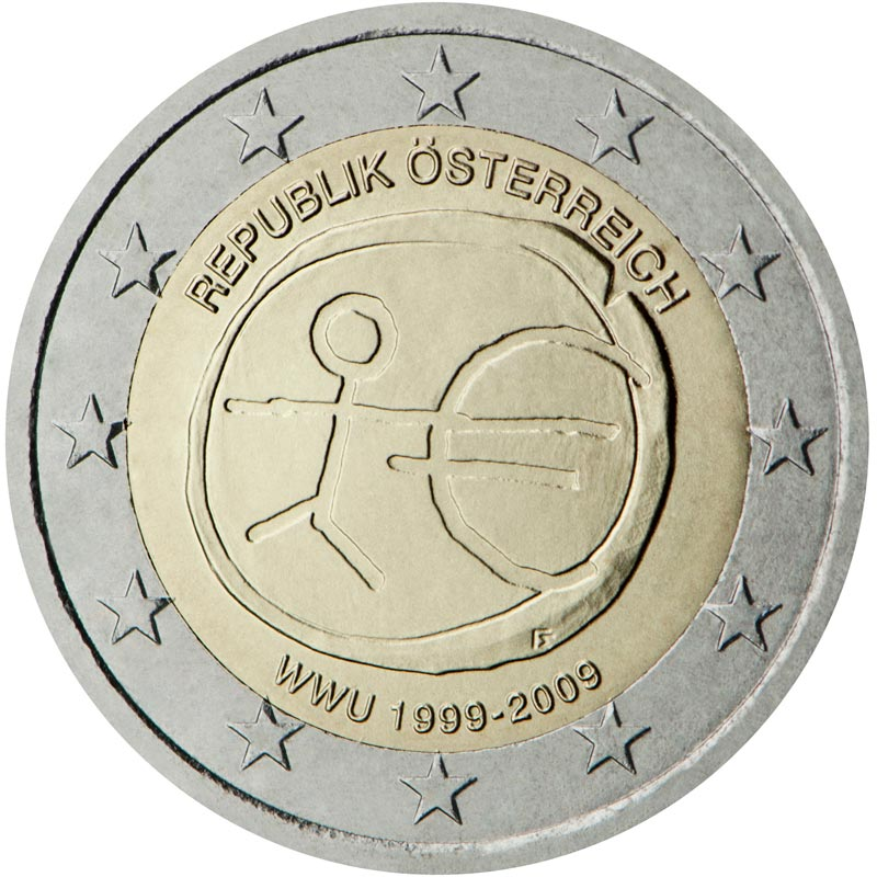 Image of 2 euro coin - 10th Anniversary of the Introduction of the Euro | Austria 2009