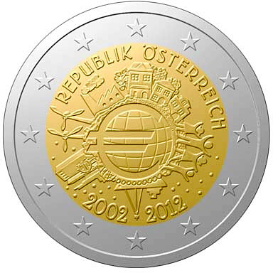 Image of a coin 2 euro | Austria | Ten years of Euro  | 2012