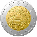 2 euro coin Ten years of Euro  | Austria 2012