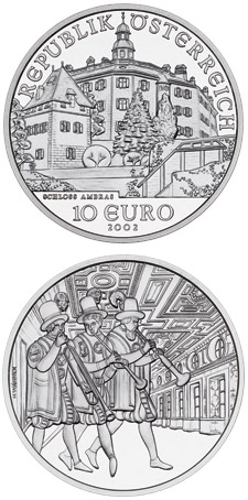 Image of 10 euro coin - Ambras Castle | Austria 2002.  The Silver coin is of Proof, BU, UNC quality.