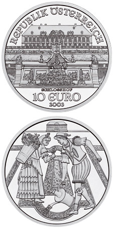 Image of 10 euro coin - The Castle of Schlosshof | Austria 2003.  The Silver coin is of Proof, BU, UNC quality.