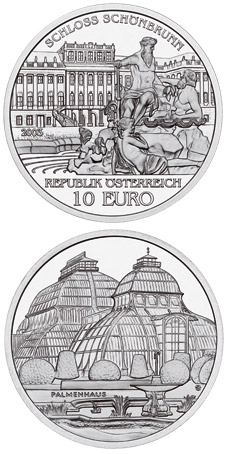 Image of 10 euro coin - The Palace of Schoenbrunn | Austria 2003.  The Silver coin is of Proof, BU, UNC quality.