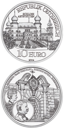 Image of 10 euro coin - The Castle of Artstetten | Austria 2004.  The Silver coin is of Proof, BU, UNC quality.