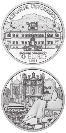Image of 10 euro coin - The Castle of Hellbrunn | Austria 2004.  The Silver coin is of Proof, BU, UNC quality.