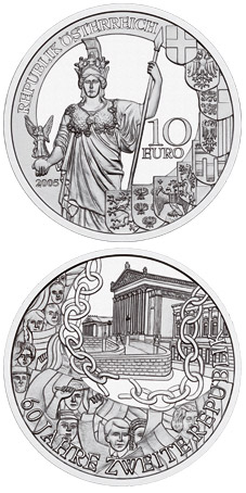 Image of 10 euro coin - 60 Years Second Republic | Austria 2005