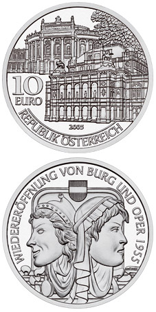 Image of 10 euro coin - Re-opening of Burgtheater and Opera 1955 | Austria 2005