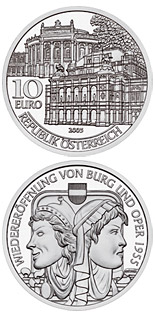 10 euro coin Re-opening of Burgtheater and Opera 1955 | Austria 2005
