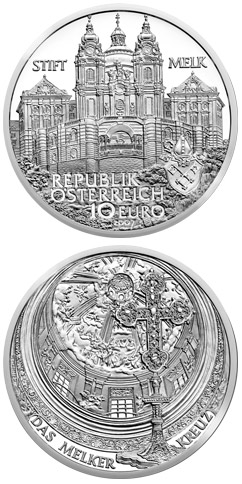 Image of 10 euro coin - Melk Abbey | Austria 2007.  The Silver coin is of Proof, BU, UNC quality.