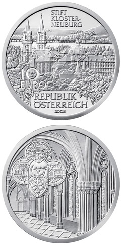 Image of 10 euro coin - Klosterneuburg | Austria 2008.  The Silver coin is of Proof, BU, UNC quality.