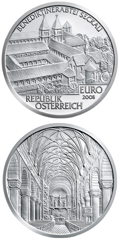 Image of 10 euro coin - Seckau Abbey | Austria 2008.  The Silver coin is of Proof, BU, UNC quality.