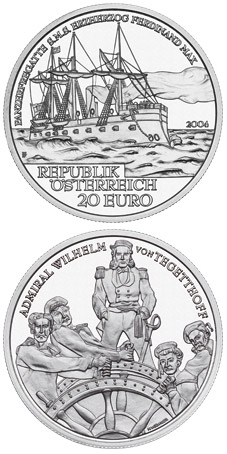 Image of 20 euro coin - S.M.S. Erzherzog Ferdinand Max | Austria 2004.  The Silver coin is of Proof quality.