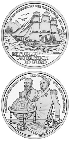 Image of 20 euro coin - S.M.S. Novara | Austria 2004.  The Silver coin is of Proof quality.