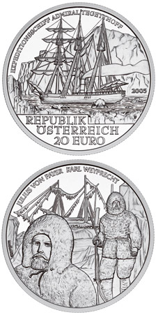 Image of 20 euro coin - Admiral Tegetthoff-The Polar Expedition | Austria 2005.  The Silver coin is of Proof quality.