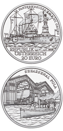 Image of 20 euro coin – S.M.S. Sankt Georg | Austria 2005.  The Silver coin is of Proof quality.
