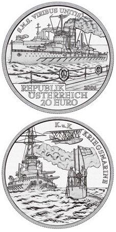 Image of 20 euro coin - S.M.S. Viribus Unitis | Austria 2006.  The Silver coin is of Proof quality.