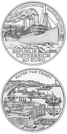 Image of 20 euro coin - The Austrian Merchant Navy | Austria 2006.  The Silver coin is of Proof quality.