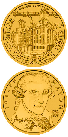 Image of 50 euro coin - Joseph Haydn | Austria 2004.  The Gold coin is of Proof quality.