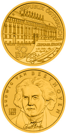 Image of 50 euro coin - Ludwig van Beethoven | Austria 2005.  The Gold coin is of Proof quality.