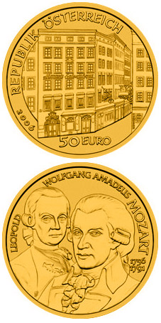 Image of a coin 50 euro | Austria | Wolfgang Amadeus Mozart | 2006