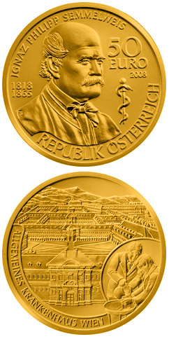 Image of 50 euro coin - Ignaz Philipp Semmelweis | Austria 2008.  The Gold coin is of Proof quality.