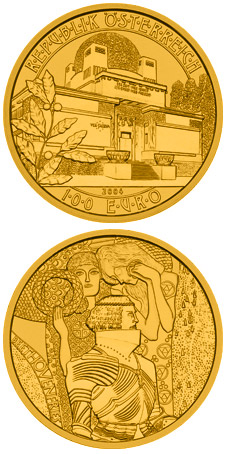 Image of 100 euro coin - Secession | Austria 2004.  The Gold coin is of Proof quality.
